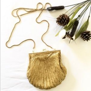 Vintage gold beaded clutch/ purse